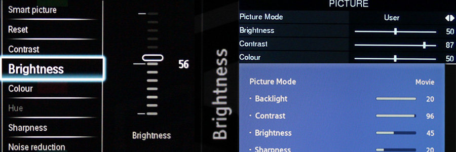 brightness-controls on different TVs